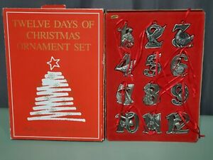 Vintage Bon Ton Pewter Twelve 12 Days of Christmas Ornament Set