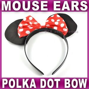 BLACK MOUSE EARS WITH POLKA DOT BOW - HEN FANCY DRESS NEW Girls Womens