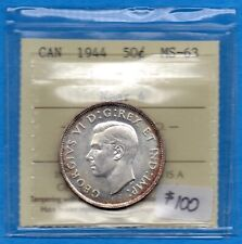 Canada 1944 Near 4 50 Cents Fifty Cents Silver Coin - ICCS MS-63
