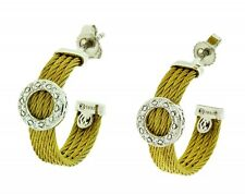 New Charriol (Alor) Celtic Classique 18K Gold & Cable Diamond Circle Earrings!