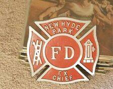 Vintage New Hyde Park EX FIRE CHIEF Sign License Plate Topper Badge Department