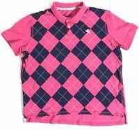 Express Men's Pique Polo Shirt Size XL Pink Short Sleeve Lion Logo Patchwork