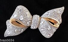 Signed Swan Swarovski Pave Bow Brooch Pin
