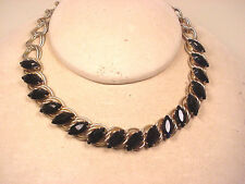 Choker Vintage 1960-70's Black Glass Faceted Marquis Stones Adjustable Big Chain