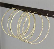 "Gold hoop earrings set 3 pair hoops earrings metal leverback posts 2.25"" wide"