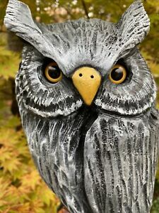 HORNED OWL Chainsaw Carving White Pine Wood Owl Sculptures ORIGINAL Folk Art