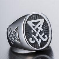 Men's Silver Sigil of Lucifer Devil~Seal of Satan Stainless Steel Signet Ring