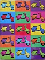 PLAQUE METAL PUBLICITAIRE vintage SCOOTER VESPA POP ART - 40 X 30 CM .
