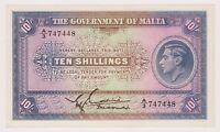 Malta Banknote 10 Shillings 1940 P13 UNC Prefix A Rare Signature King George