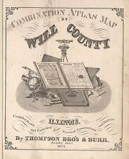 1873 Atlas Will County Illinois plat map old Genealogy Land Ownership Dvd