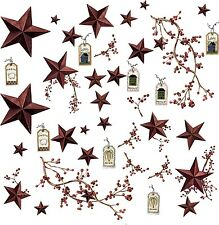 COUNTRY STARS 40 Big Removable Wall Decals RUSTIC BERRIES Room Decor Stickers