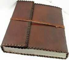 Handmade 10 x 12 Tri-fold Leather Journal Album with Lace Edging Sketchbook