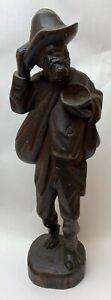 Vintage Handcarved Wooden Beggar Traveler Hobo Man Wood Carving Estate Folk Art