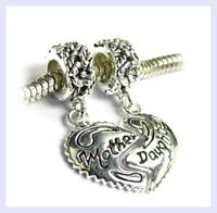 925 Sterling Silver Mother Daughter Love Heart Bead for European Charm Bracelet