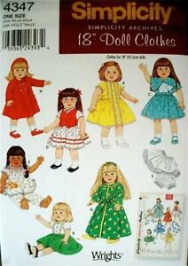 """$3 SALE-New-Simplicity Archives #4347-18""""-American Girl Sz-Doll Clothes Pattern"""