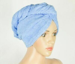 Head Towel Blue Cotton Quick Dry Twist Hair Turban Non Slip Loop