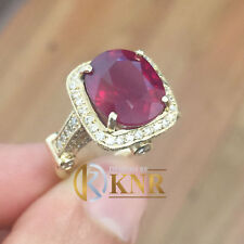 14K YELLOW GOLD OVAL RUBY AND ROUND CUT DIAMONDS RING DECO BRIDAL HALO 8.20CTW