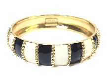 Kate Spade Harbor Lights Bracelet NWT Classic Black/White Stripes w/ Gold Trim