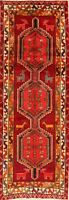 Tribal Geometric Ardebi Hand-Knotted Animal Design 10 ft Runner Rug Wool 4x10 ft