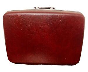 Vintage 60s Samsonite Silhouette Hard Case Suitcase Luggage Burgundy NO KEY
