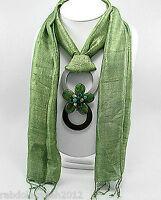 STYLISH Gemstones Beaded Jeweled GREEN Silk Scarf  w/ Pendant Retail $295COUTURE