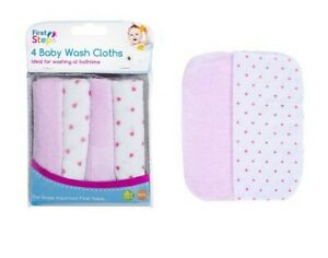 Pack of 4 Baby Extra Soft Wash Burp Cloths Essential Bathtime Flannels 0+Months