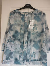 NEXT BLUE & GREY FLORAL CHIFFON PLEAT FRONT BLOUSE TOP. UK 10, EUR 38, US 6 BNWT
