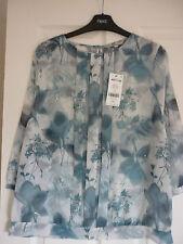 Next Blau & Grau Blumenmuster Chiffon Falte Vorne Bluse Oberteil. UK 10, EUR 38, US 6 Bnwt