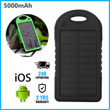 Waterproof 5000mAh Sun Solar Power Bank Battery Chargeur iPhone Samsung Black