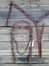 WESTERN HEADSTALL BREAST COLLAR RAWHIDE KNITTED PURPLE STONE LEATHER HORSE TACK