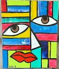 Abstract Painting Original Modern Face Oil On Canvas, Signed Colby 10