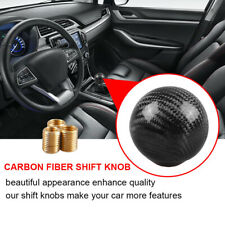 Gear Shift Knob Round Ball Shape Black Carbon Fiber Universal Car With Adapters