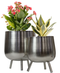 Metal Plant Pot Holder - 2 Piece Flower Planter Indoor Outdoor Home Garden Porch