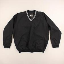 Easton Sports Men Black V-Neck Long Sleeve Windbreaker Jacket 2 Pockets Size L