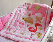 New Baby Girls Boys 7 Pieces Cotton Nursery Bedding Crib Cot Sets Blue
