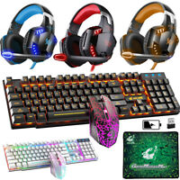 Wireless Gaming Keyboard Mouse LED Backlit + Wired Gaming Headset Headphone