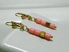 Koralle Bambuskoralle Ohrringe Ohrhänger Pink Coral & Cubes vergoldet