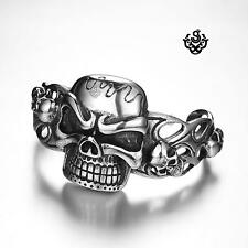 Silver bikies bracelet stainless steel men skull cuff bangle soft gothic