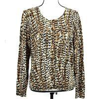 Talbots Womens Cardigan Sweater Merino Wool SZ XL Brown Black Print