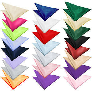 New Mens Fashion Italian Satin Pocket Square Handkerchief 23 Colours Hanky