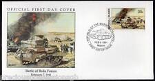 W19 1-1 Storia della Seconda Guerra Mondiale Isole Marshall FDC COVER 1991 Battaglia di Beda fomm 1941