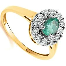 Emerald and Diamond Ring Yellow Gold Oval Cluster Hallmarked Certificate