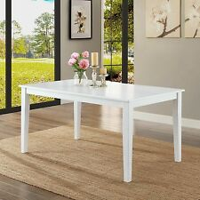 Solid Wood Long Dining Room Table White Finish Indoor Kitchen Furniture