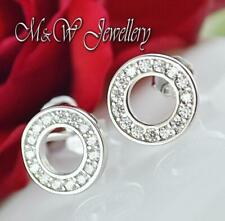 Solid 925 Sterling Silver Rhodium Plated Stud Earrings ROUND With ZIRCONIA
