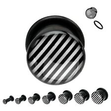 "PAIR-Black White Striped Acrylic Single Flare Ear Plugs 12mm/1/2"" Gauge Body Jew"