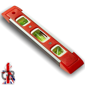 "Spirit Level Line 22.5cm 9"" Lightweight Red Small Magnetic Scaffold Shelf Brick"