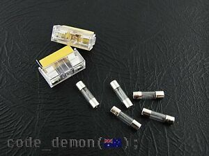 New 5 x Glass Fuse 0.25A 250V 5mm x 20mm Fast Blow Fuses + 2 x Fuse Sockets