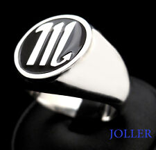 YOUR ZODIAC SIGNET RING ROUND LARGE 17mm ENAMEL CUSTOM MADE SILVER BY JOLLER