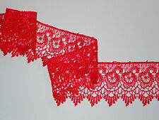 "The Place For Lace - Premium Bright Red Guipure Lace Trim 2.5""/6.5cm PER METRE"