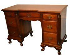 Vintage Cherry Queen Anne Style Knee Hole Desk w/Fluted Columns & Bracket Feet